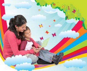Mother reading a fairy tale to her daughter and sitting on a rainbow